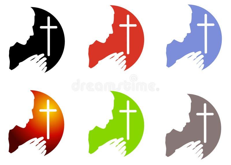 Rezo e insignias o iconos de la cruz stock de ilustración