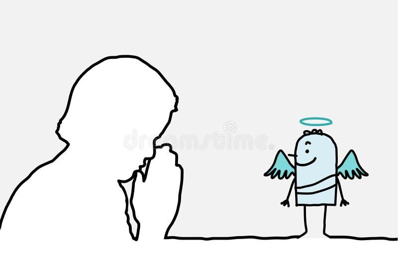Rezo y ángel stock de ilustración
