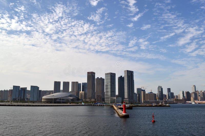 Rezultat ekspansywny rozwój w Chiny Ja ` s Dalian miasto, zdjęcia stock