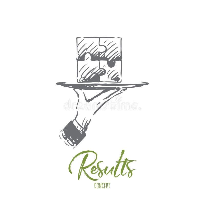 Rezultaty, łamigłówka, związek, rozwiązanie, pracy zespołowej pojęcie Ręka rysujący odosobniony wektor ilustracji