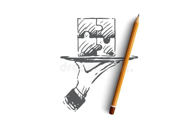 Rezultaty, łamigłówka, związek, rozwiązanie, pracy zespołowej pojęcie Ręka rysujący odosobniony wektor royalty ilustracja