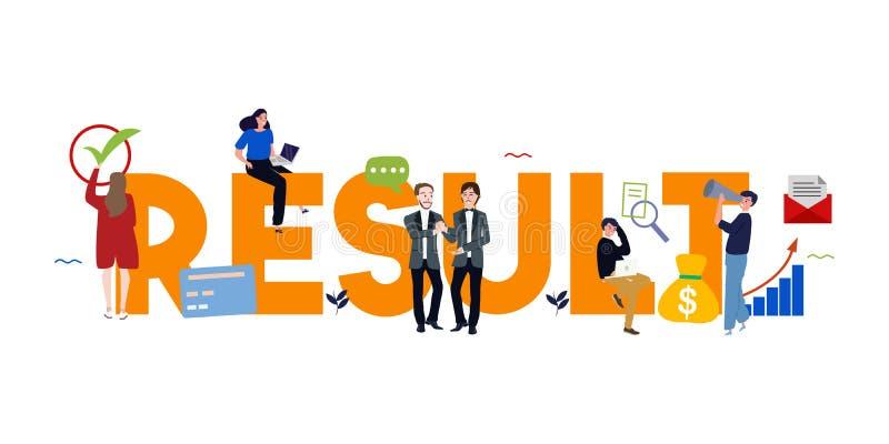 Rezultaty formułują pisać biznesowego pojęcie rezultata osiągnięcia cel jako kluczowego występu wskaźnik w pracownik ocenie ilustracja wektor