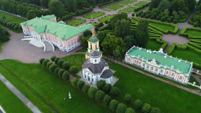 Rezydencja ziemska Kuskovo w Moskwa w wieczór zdjęcie royalty free