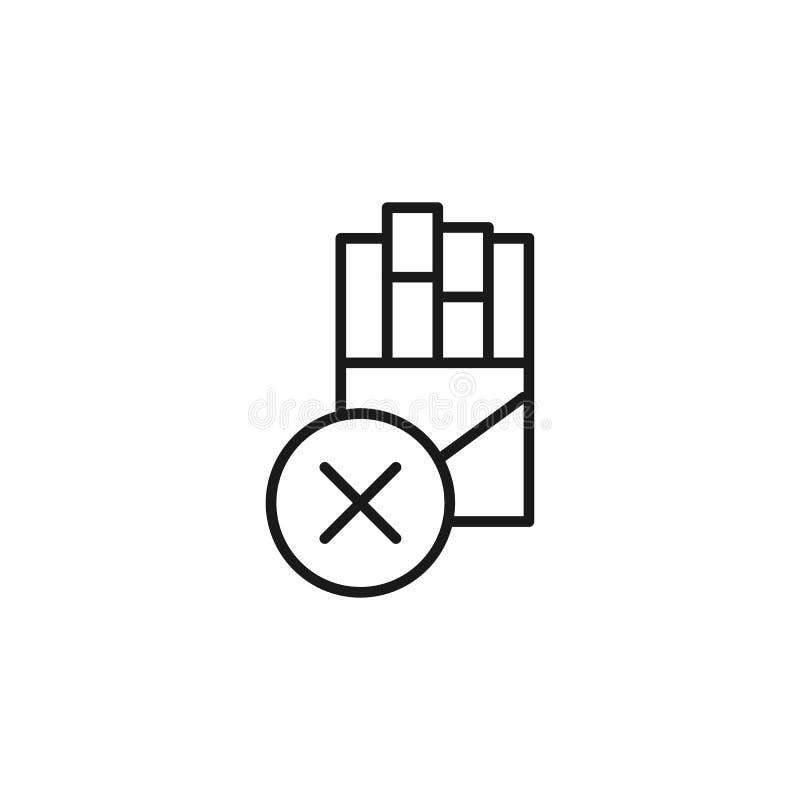 Rezygnuje dymienie, paczka papieros ikona Element rezygnuj?ca dymi ikona Cienka kreskowa ikona dla strona internetowa projekta i  ilustracji