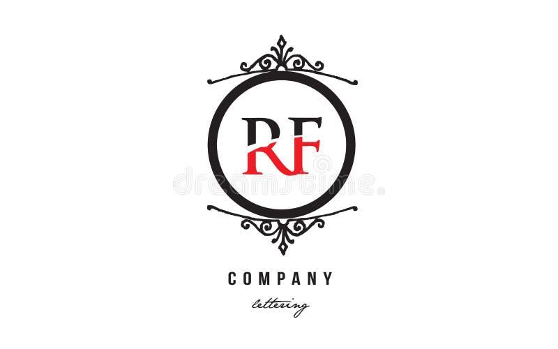RF R F Red White Black Decorative Monogram Alphabet Letter Logo ...