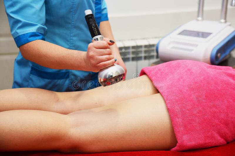 Rf skin tightening. Vacuum massage. Hardware cosmetology. Body care. Non surgical body sculpting. anti-cellulite and anti-fat ther stock photo