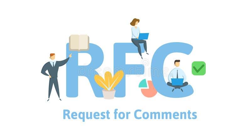RFC, prośba dla komentarzy Pojęcie z słowami kluczowymi, listami i ikonami, Płaska wektorowa ilustracja Odizolowywający na bielu ilustracji