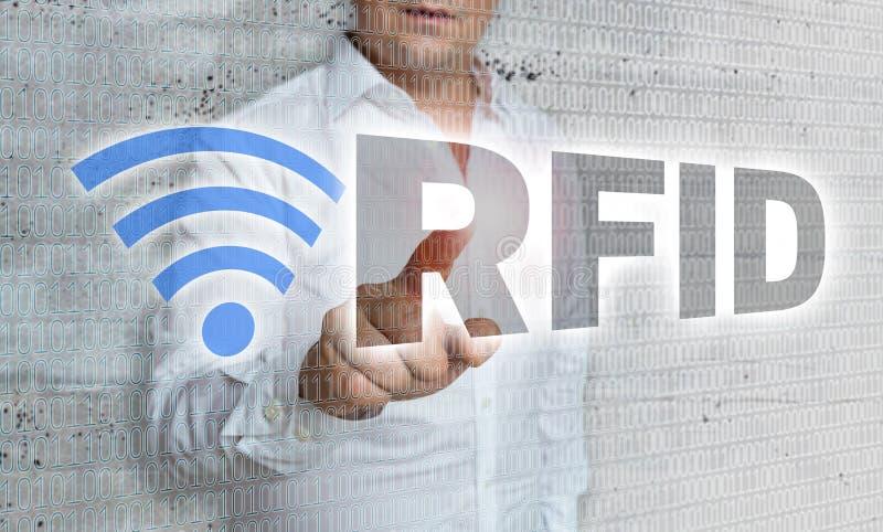 RFID met matrijs en zakenmanconcept royalty-vrije stock foto's