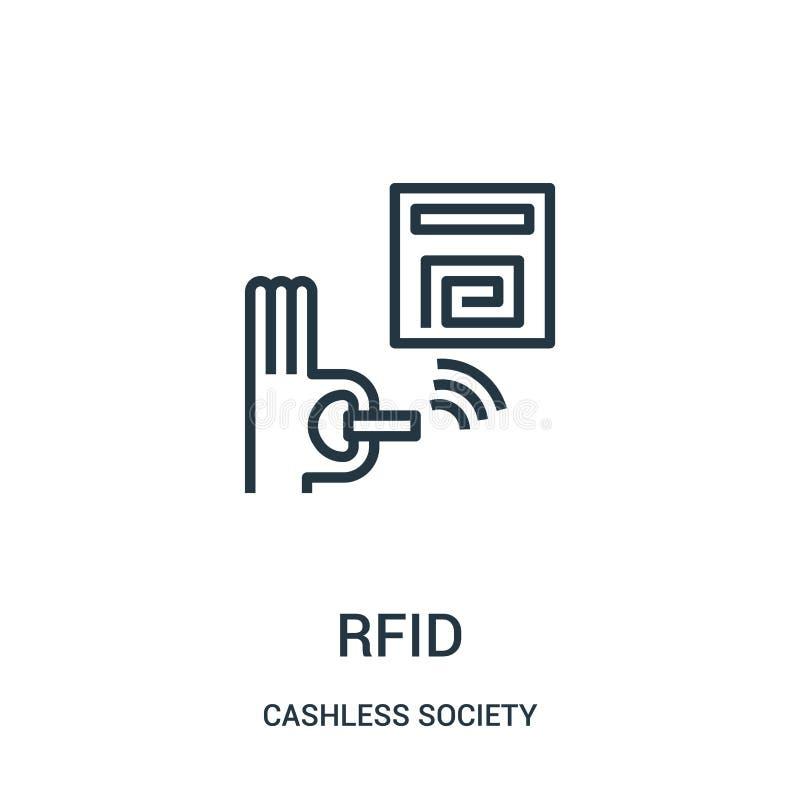 rfidsymbolsvektor från cashless samhällesamling Tunn linje illustration för vektor för rfidöversiktssymbol royaltyfri illustrationer
