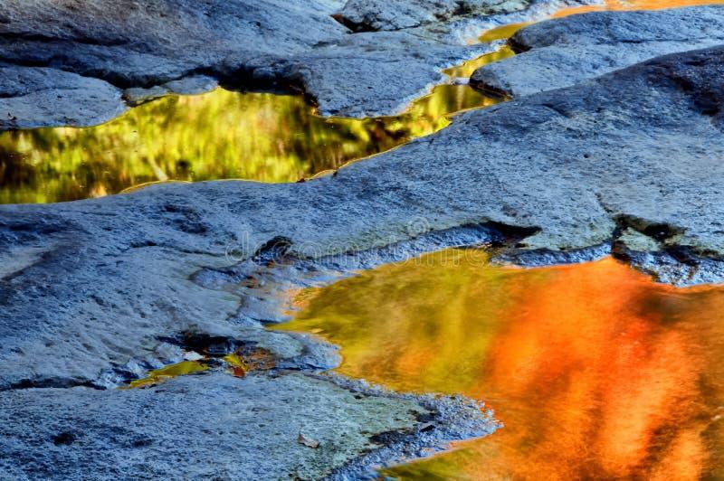 Rflections en rotsen. stock afbeeldingen