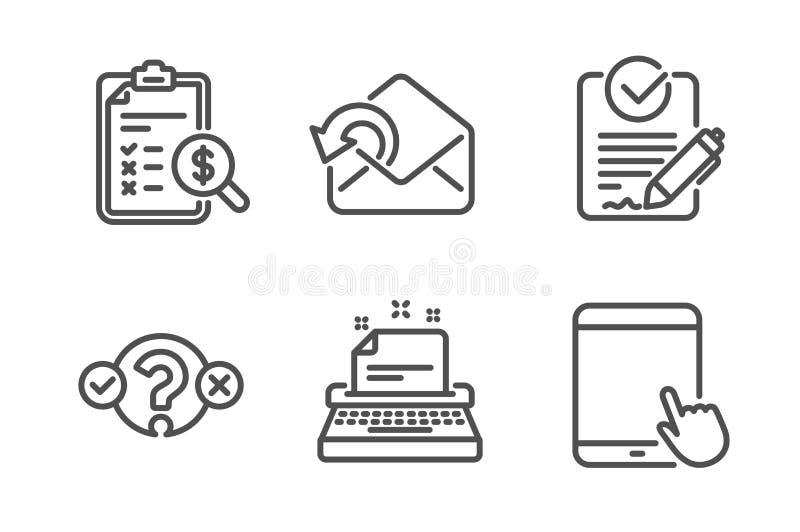 Rfp、认为的报告和测验测试象集合 送邮件,打字机和平板电脑标志 向量 库存例证