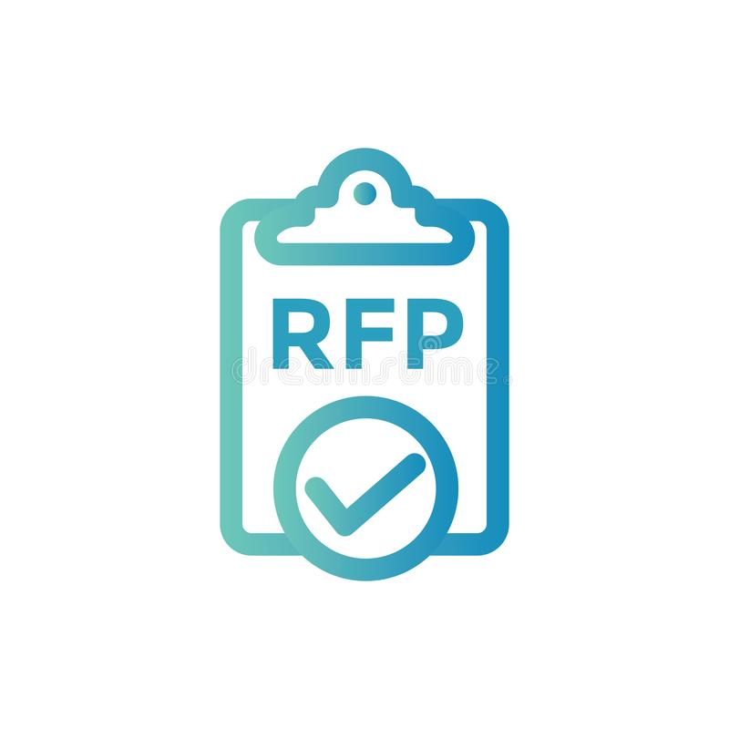 RFP Icon - request for proposal concept or idea stock illustration