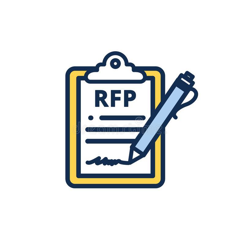 RFP Icon - request for proposal concept or idea. RFP Icon - request for proposal concept - idea stock illustration