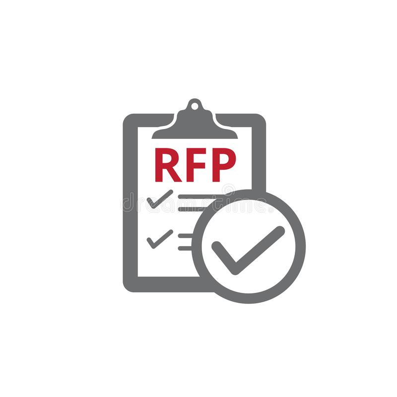 RFP Icon - request for proposal concept or idea. RFP Icon - request for proposal concept - idea royalty free illustration