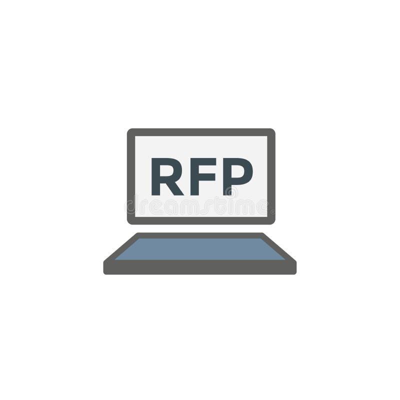 RFP ikona - prośba dla propozycja pomysłu lub pojęcia royalty ilustracja