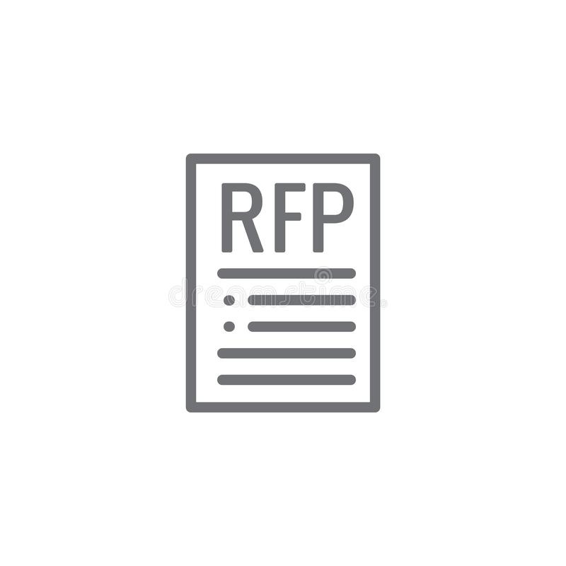 RFP Pictogram - verzoek om voorstelconcept of idee vector illustratie