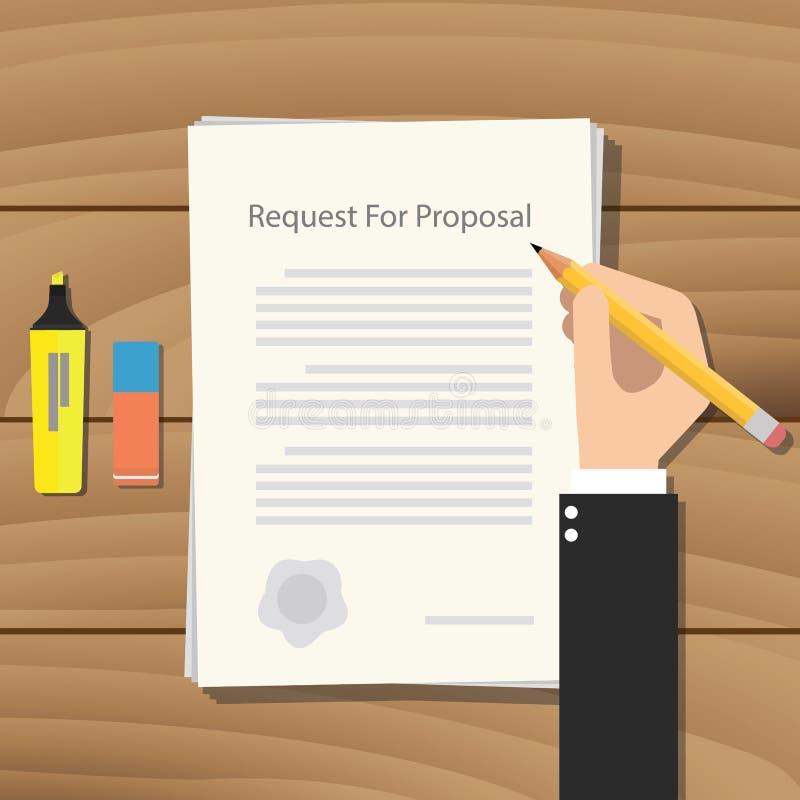 Rfp prośba dla propozycja papierowego dokumentu royalty ilustracja