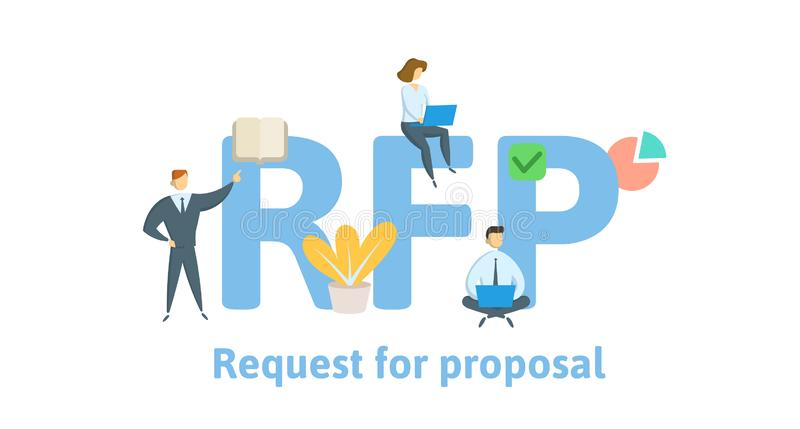 RFP, Request For Proposal. Concept with keywords, letters and icons. Flat vector illustration. Isolated on white royalty free illustration