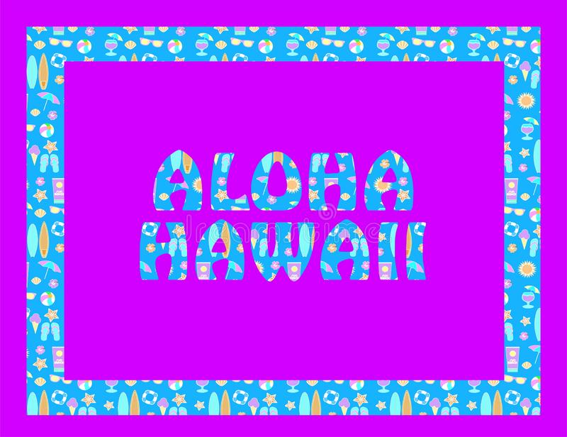 RGB básicoAloha Hawaii lettering on magenta backround. Vector tropical letters with colorful beach icons on light blue backround royalty free illustration