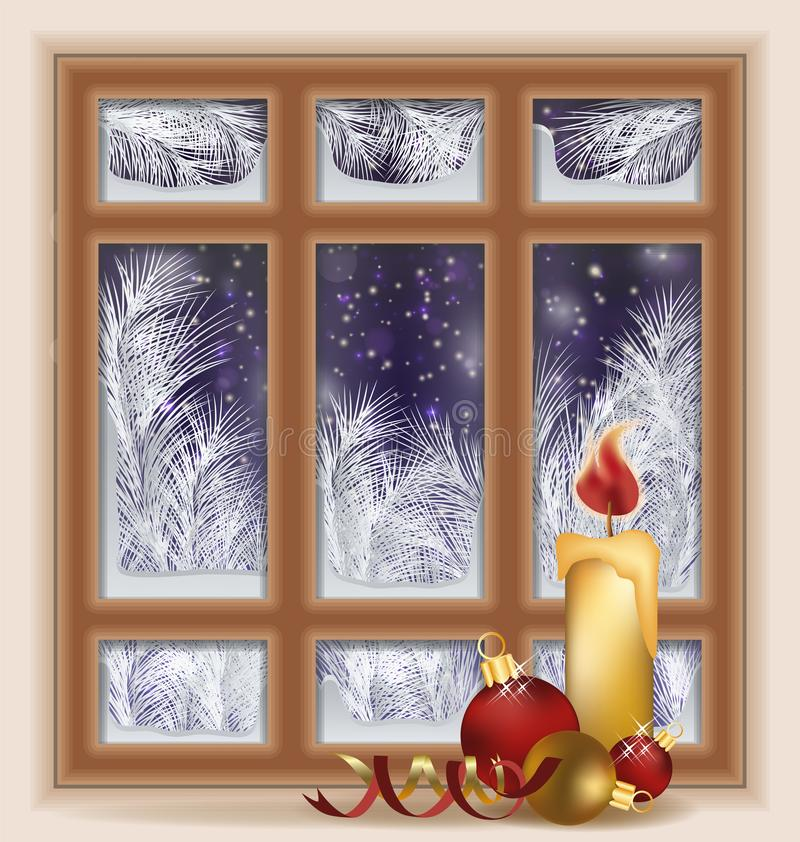 Holiday frosted window with candle and xmas balls. Vector illustration stock illustration