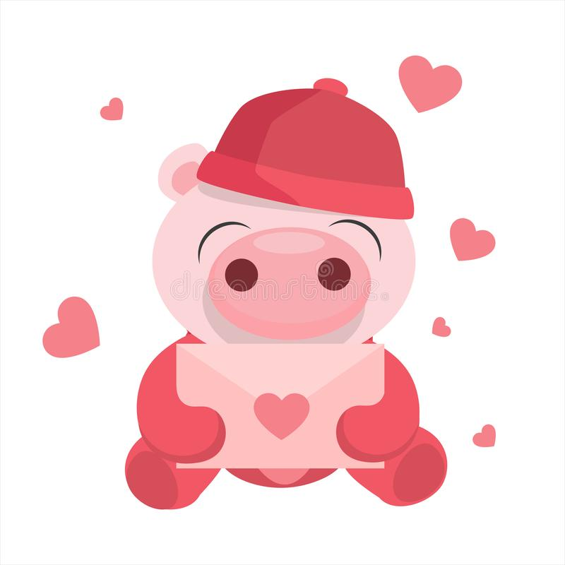 PINK CARD FOR THE DAY OF SAN VALENTIN. stock illustration