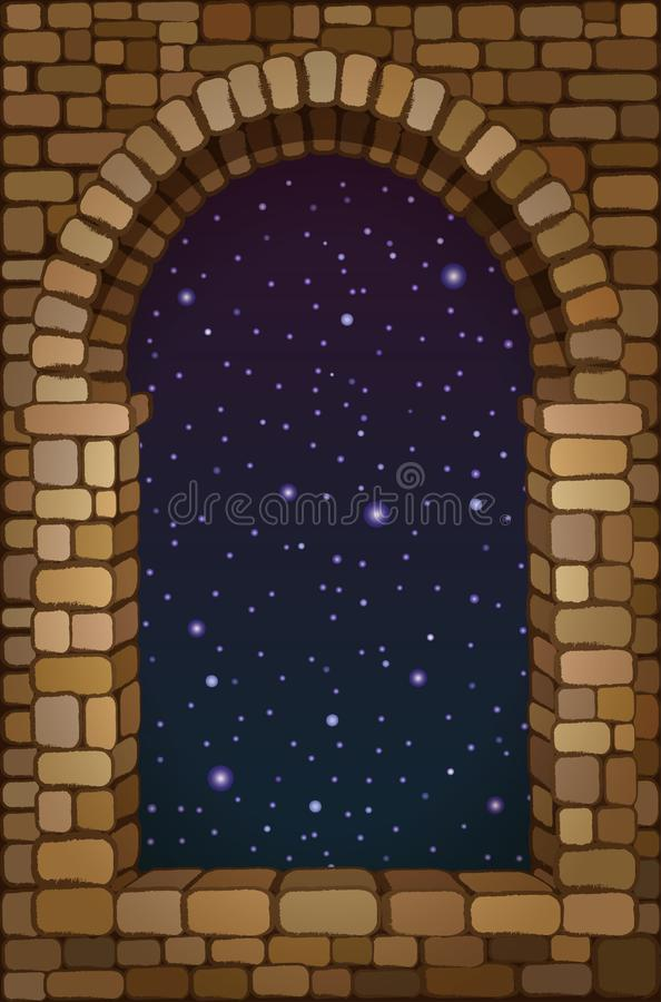 View from the old arched stone window, vector. Illustration stock illustration