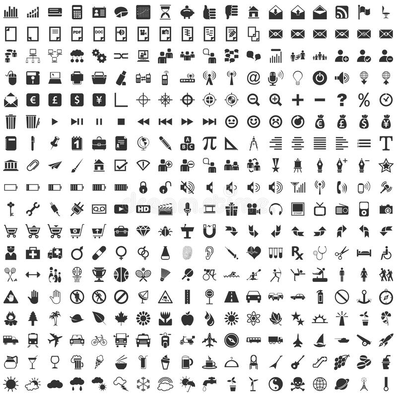 RGB básico, 324 iconos del vector stock de ilustración