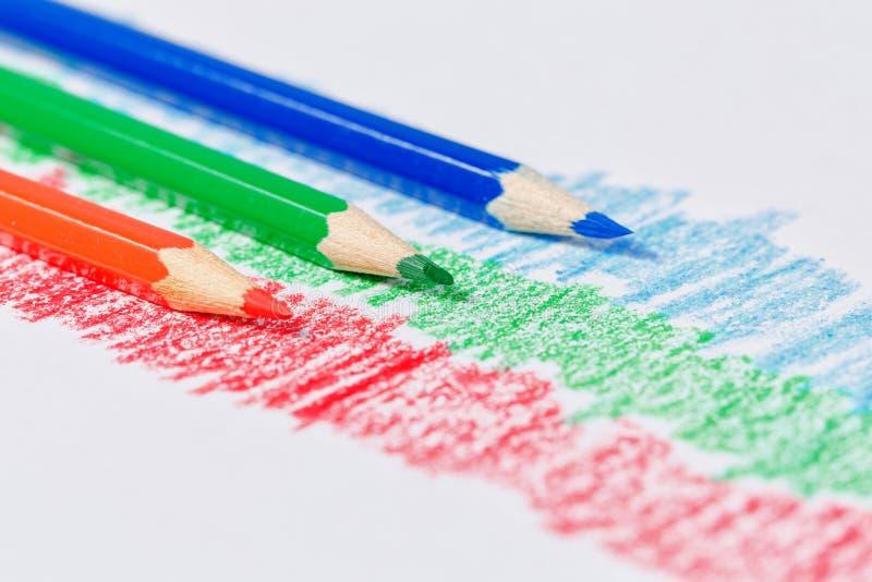 Rgb-blyertspennor royaltyfri bild