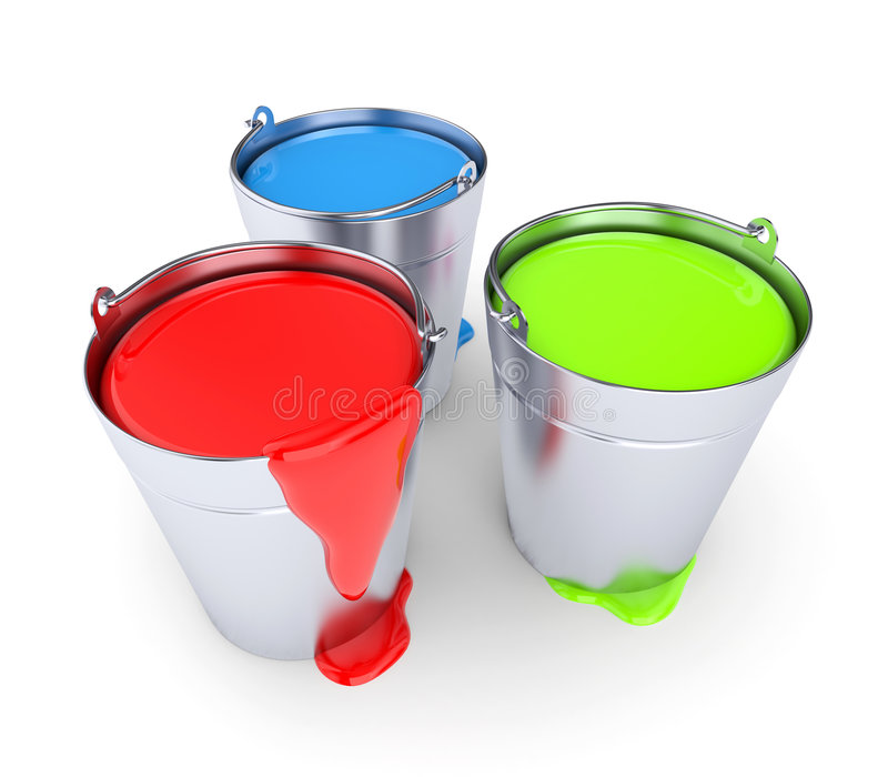 RGB - Buckets with a paint. Design concept isolated on white royalty free illustration