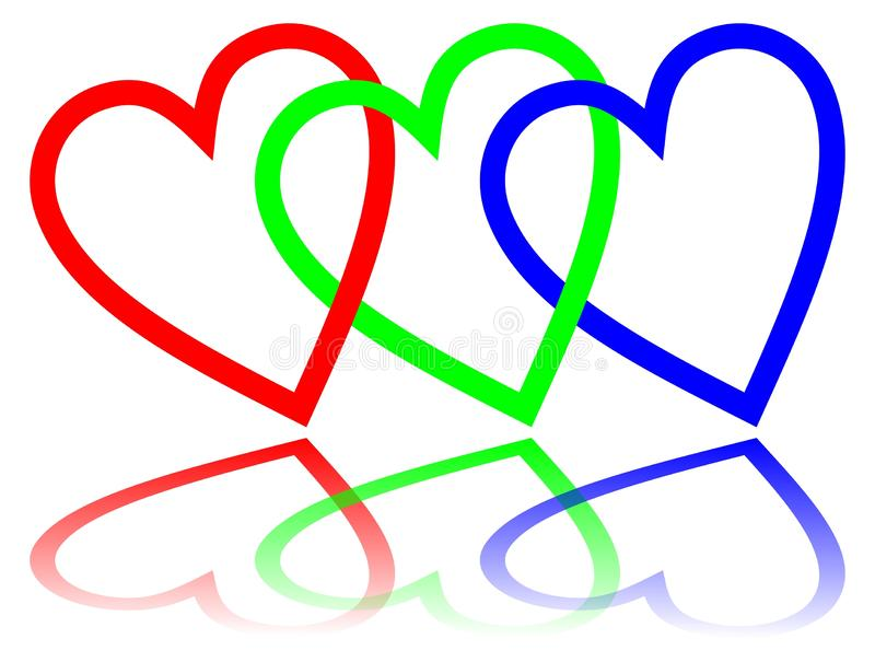 RGB color space designed like hearts with mirror image, basic red, basic blue and basic green. vector illustration