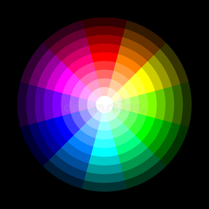 RGB color wheel from dark to light, on black background. Vector royalty free illustration