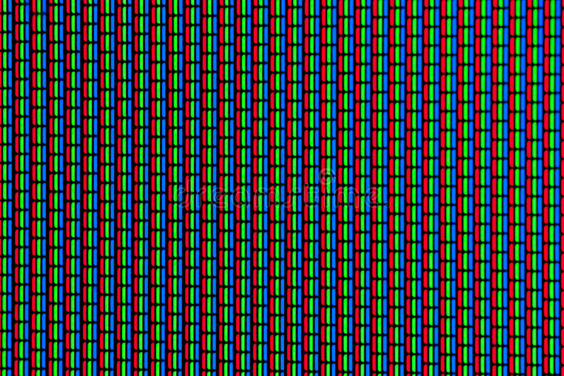 RGB-colors of an analogue screen. Close-up background of an analogue television screen with the RGB-color pattern stock photos