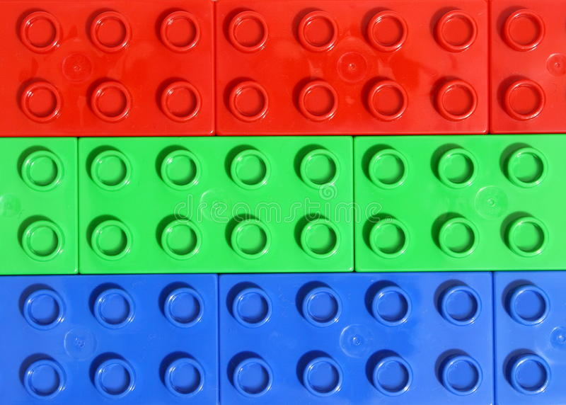 Rgb colors - Lego. Red green and blue lego blocks for rgb background royalty free stock image