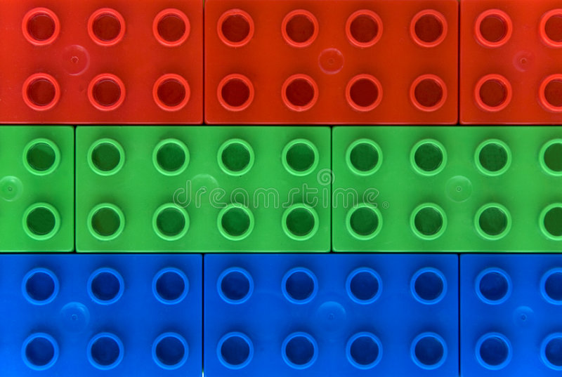 Rgb colors - Lego. Red green and blue lego blocks for rgb background stock photos