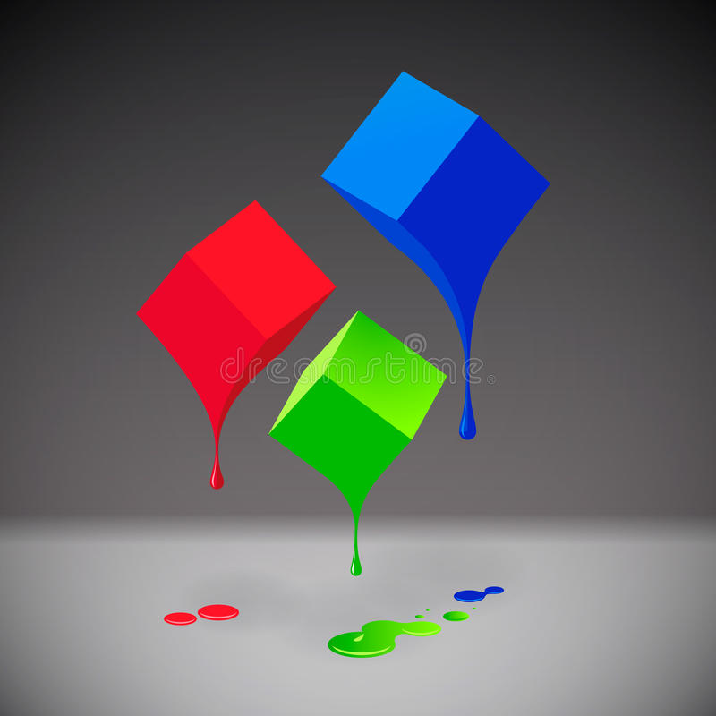 RGB cubes with blobs on grey background. RGB cubes with blobs, EPS10 illustration stock illustration