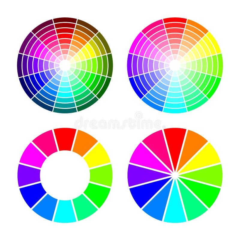 Rgb-färghjul från 12 färg, röd gräsplanblått, vektoruppsättning på vit bakgrund royaltyfri illustrationer
