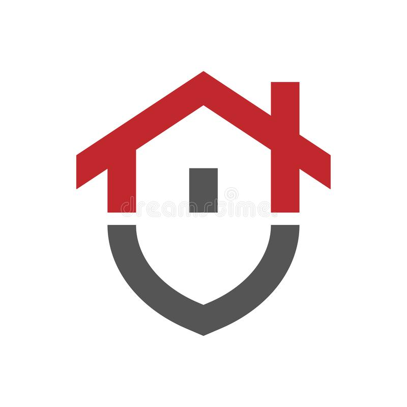 RGBHome protection logo design template. Vector shield and house logotype illustration. Graphic home security icon royalty free illustration