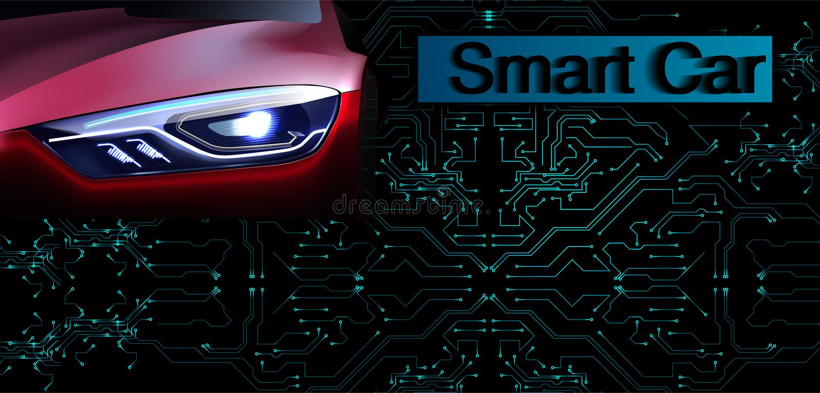 RGBSmart or intelligent car vector concept. Futuristic automotive technology with autonomous driving, driverless cars. Eps10 stock illustration