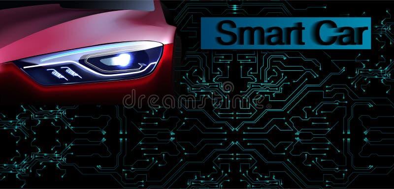 RGBSmart lub inteligentny samochodowy wektorowy pojęcie Futurystyczna automobilowa technologia z autonomicznym jeżdżeniem, driver ilustracji