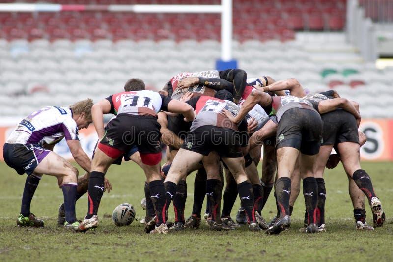 RGL: Rugby-Liga-Harlekine gegen Melbourne-Sturm stockbilder