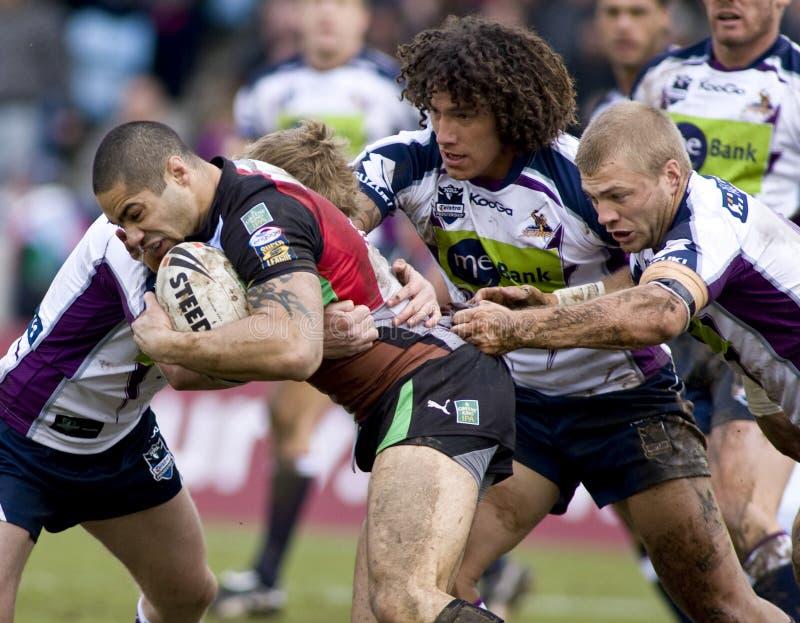 RGL: Rugby-Liga-Harlekine gegen Melbourne-Sturm stockfotos