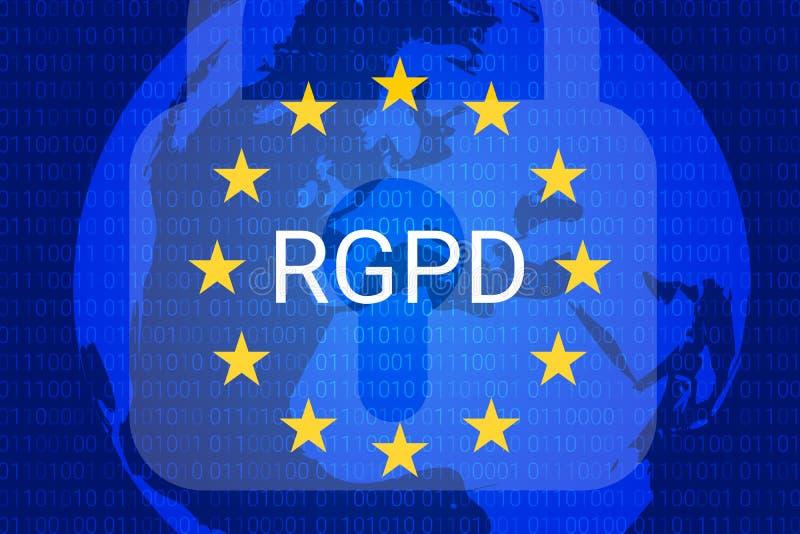 RGPD é GDPR: relação geral da proteção de dados em francês, italiano, espanhol Vetor ilustração do vetor
