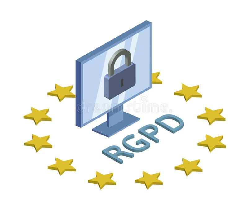 RGPD, испанский язык, француз и итальянская версия версии GDPR Общая регулировка защиты данных Логотип концепции равновеликий иллюстрация вектора