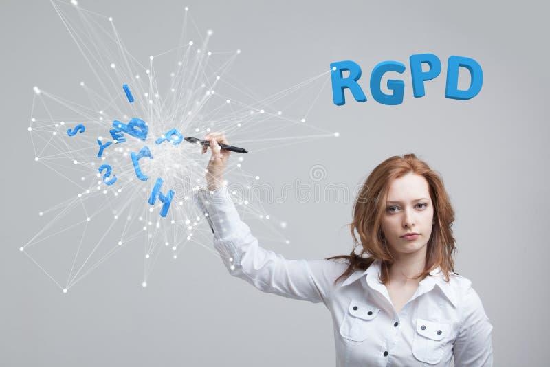 RGPD, испанский язык, француз и итальянская версия версии GDPR: Datos Reglamento Генерала de Proteccion de Общие данные стоковая фотография rf