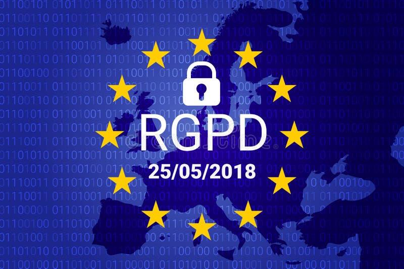 RGPD ist GDPR: Schutzbeziehung der allgemeinen Daten auf französisch, italienisch, spanisch Vektor lizenzfreie abbildung