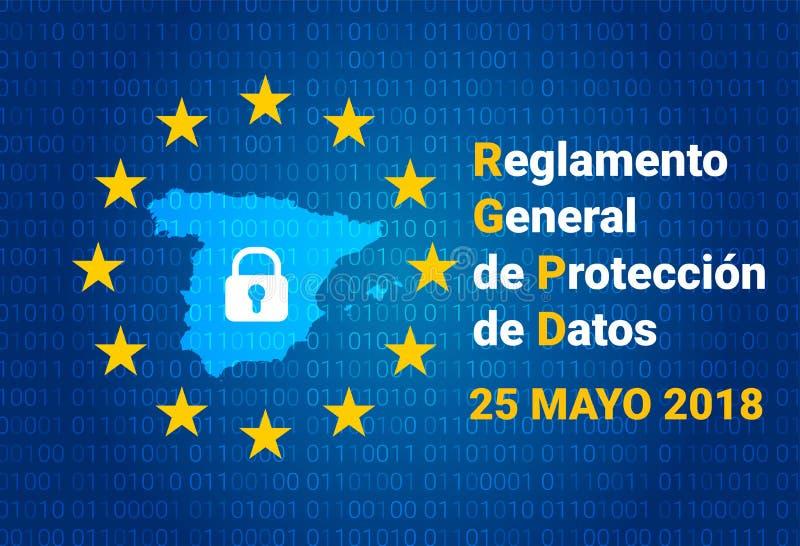 RGPD - texto espanhol: Reglamento Geral de Proteccion de Datos GDPR - Regulamento geral da proteção de dados Mapa da Espanha ilustração stock