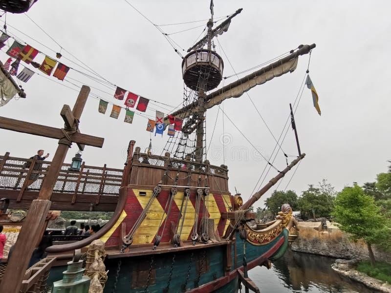 Siren& x27;s Revenge ship @ Shanghai Disney land, China. Rhdr disney castle shanghai land china  sho show tow town pir pira pirat pirate shi ship sir sire siren royalty free stock image