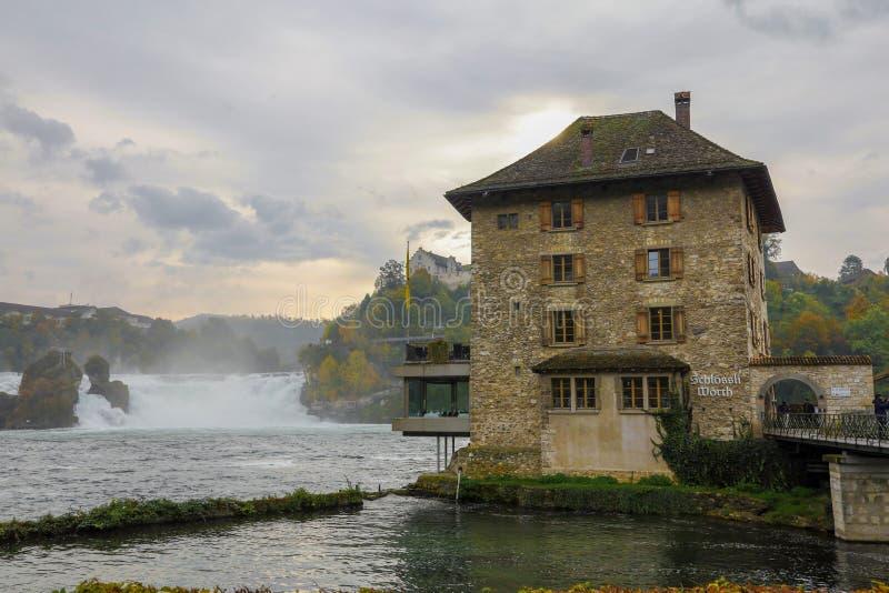 Rhein Fall, Switzerland-October 18,2019: View of Rhein Fall is famous and beautiful in autumn season at Rhein Fall, Switzerland stock photography