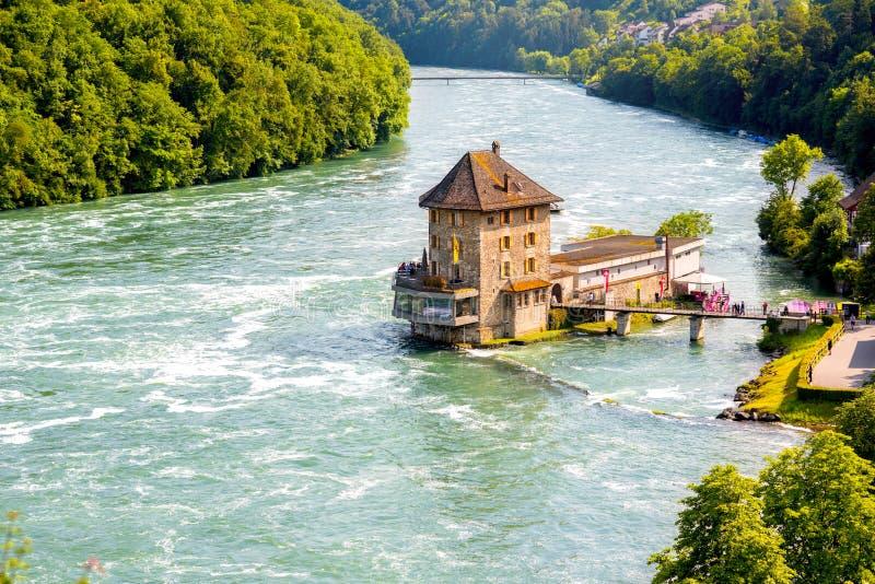 Rhein river in Switzerland. Landscape view on Rhein river with Worh water castle on the north of Switzerland stock photos