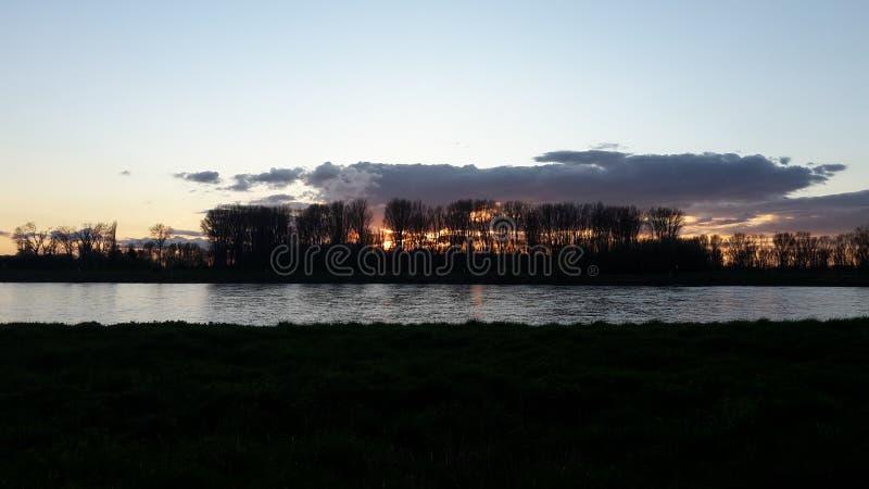 Rhein rzeki zmierzch obraz royalty free